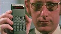 Clive Sinclair with Sinclair Executive Calculator Hire