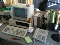 Eighties Office Desk Setup - Computer and Phone Hire