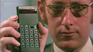 Clive Sinclair with Sinclair Executive Calculator