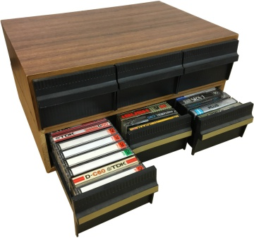 Cassette Drawers - Wood Effect - With Tapes
