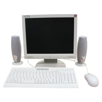 Office Screens and keyboard setup (White LCD)